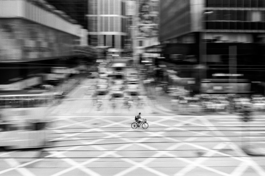 Black and white shot - Cycling in Hong Kong