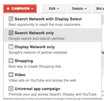 Create Adwords campaign