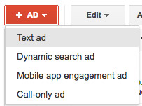 adwords create ad button