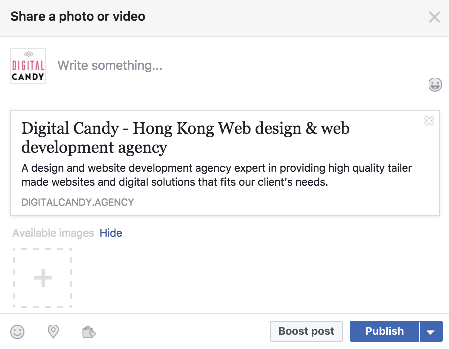 Undetected URL preview online marketing Facebook