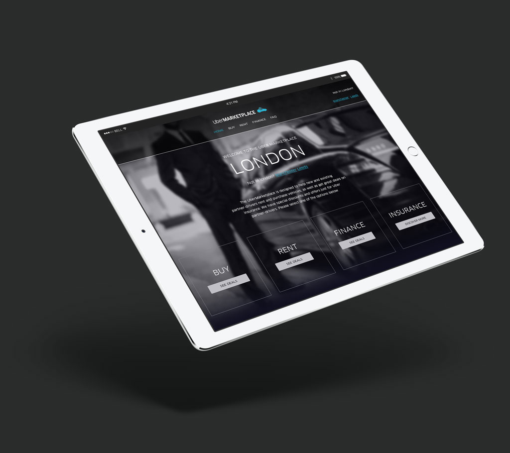 web design project by Digital Candy for Uber Marketplace tablet design